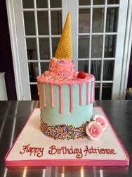 Melted Ice Cream Cone Birthday Cake