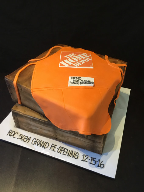 Home Depot Apron and Wooden CrateEvent Cake