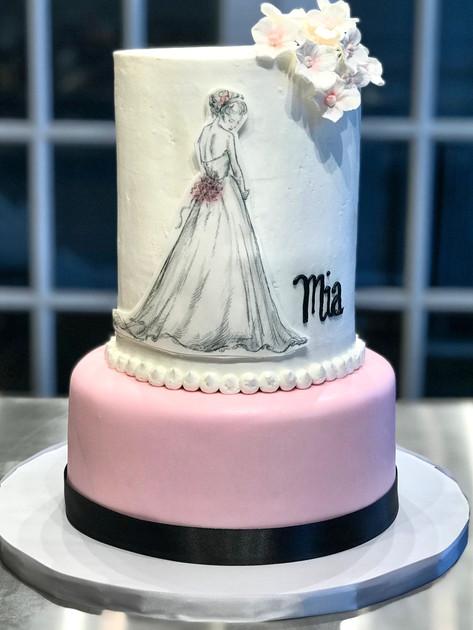 Bride Silhouette Bridal Shower Cake