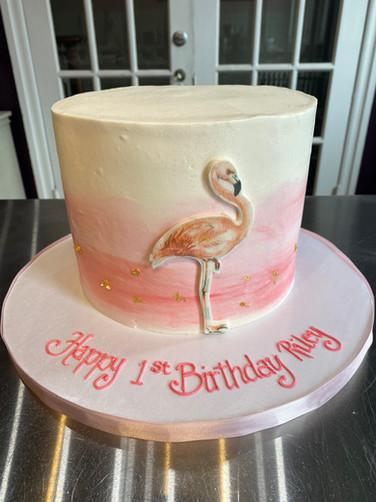 Watercolor Flamingo Birthday Cake