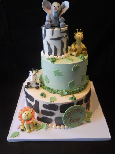 Zoo Animals Baby Shower Cake