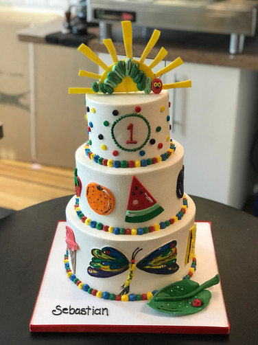 Hungry Hungry Caterpiller Birthday Cake
