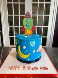 Spaceship in Outer Space Birthday Cake