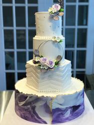 Purple Marble and Chevron Modern Wedding