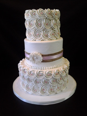 Ivory and Pink Pearl Rosette Traditional Wedding