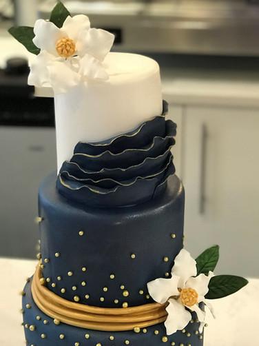 Navy Blue Ruffle with Gold Detail Modern Wedding