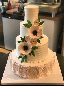 Pink Ruffled Rosette Rustic Wedding