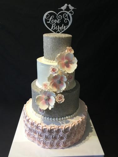 Lovebird Rosette Modern Wedding