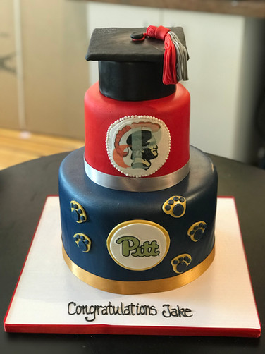 High School to College Graduation Cake