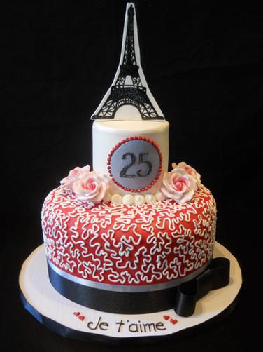 Je T'aime Paris Birthday Cake