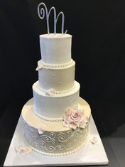 White Ribbed and Ivory Scrollwork Traditional Wedding