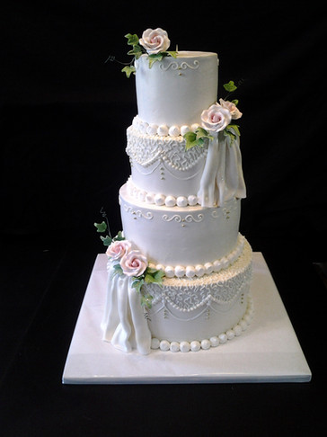 Draped Fondant Traditional Wedding with Roses