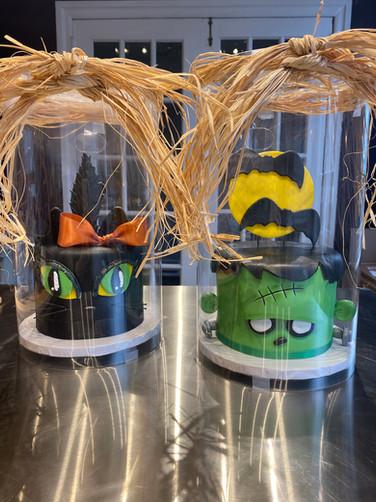 Frankenstein and Black Cat Halloween Holiday Cake