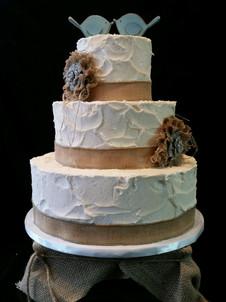 Ivory Stucco with Burlap Ribbon Rustic Wedding