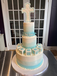 Blue Watercolor Christening Cake with Baby Blocks