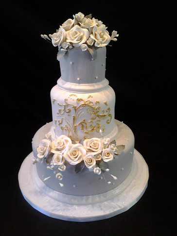 Taupe and White Fondant Traditional Wedding