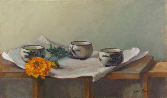Three Cups and Yellow Flower