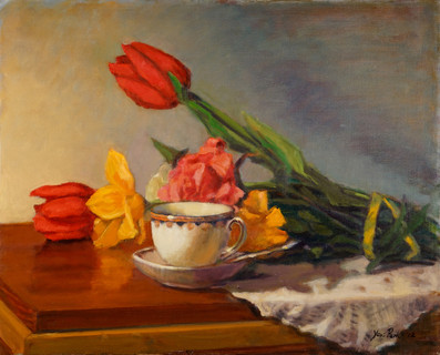 Tea Cup and Tulips v.2