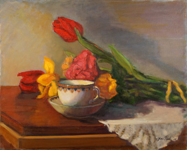 Tea Cup and Tulips v.1