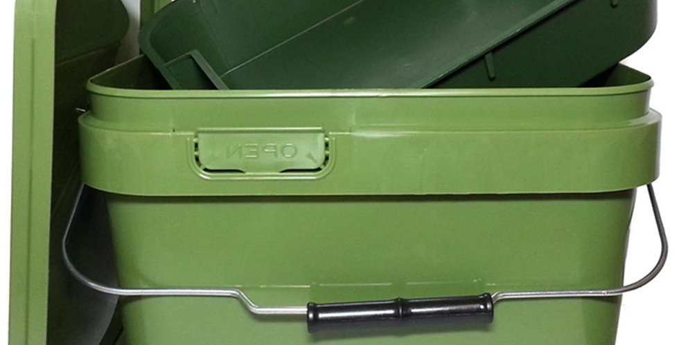 10 Litre Green Bait Bucket with Mixing Bowl-Square
