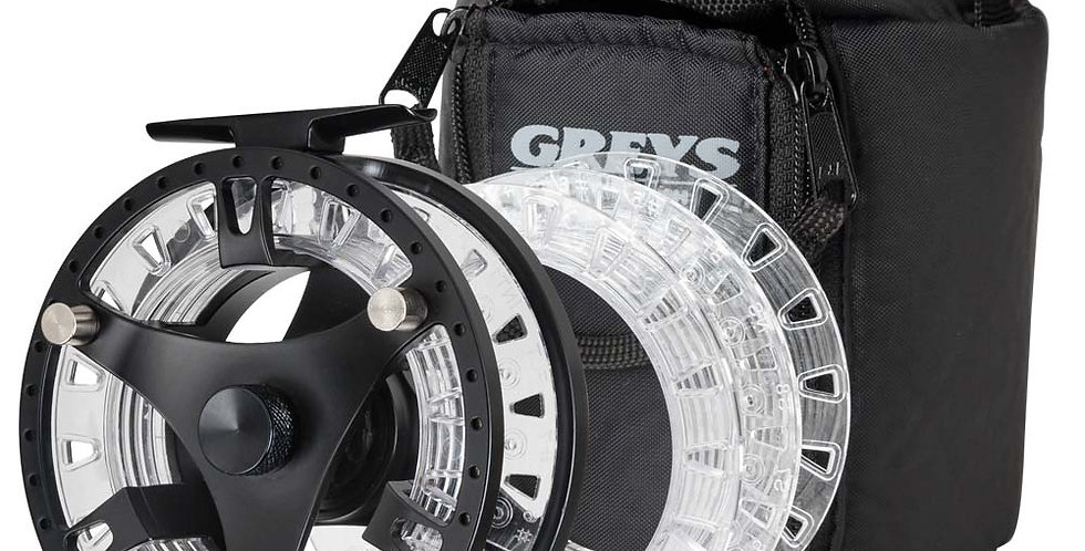 greys gts 500 fly reel with cassettes and case