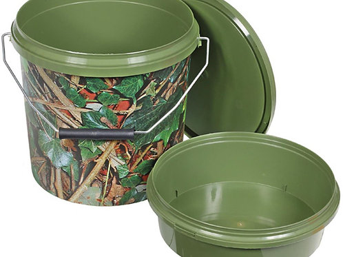 round green and camo fishing bait bucket with lid