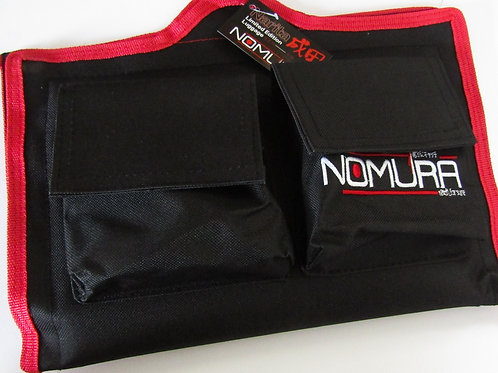 black and red nomura fishing rig wallet