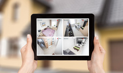 home camera cctv monitoring monitor system alarm smart house video phone view concept - stock image
