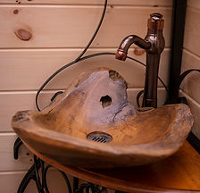 Teak wood root basin