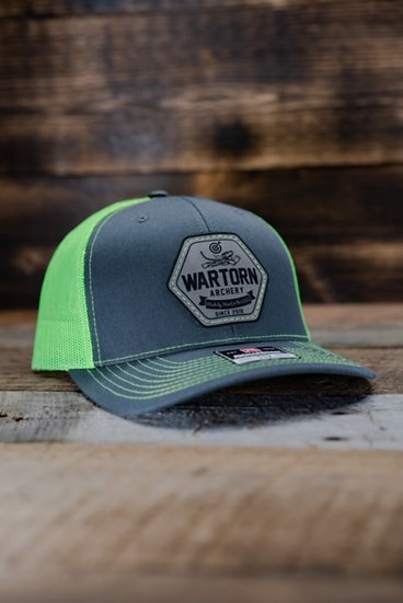 Flo Green Leather Patch Hat