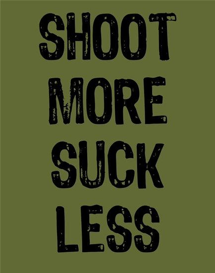 """WAR TORN ARCHERY """"SHOOT MORE SUCK LESS"""" T-SHIRT"""