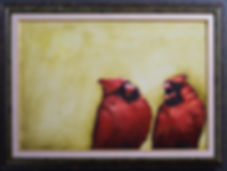 """""""Cardinal Conversations""""  oil on canvas captures the morning report"""