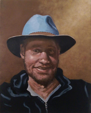 Self-portrait in hat