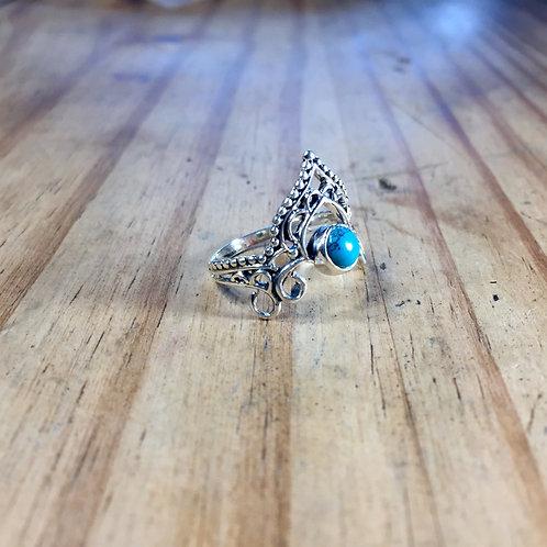 Bague couronne et turquoise