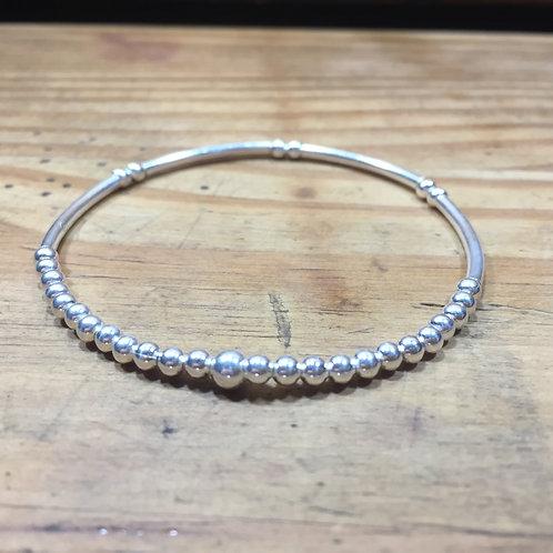 Bracelet petite perle lisse et tige argent
