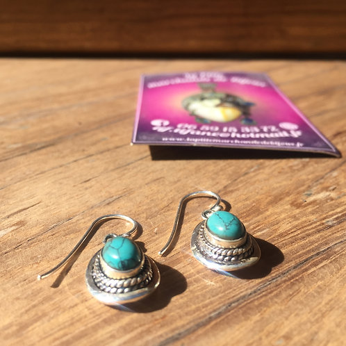 Boucle d'oreille ronde turquoise