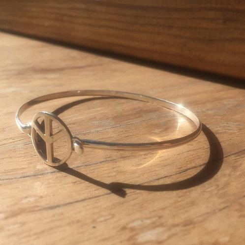 Bracelet rigide peace and love argent 925
