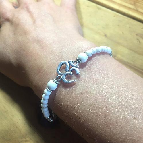 Bracelet OM coton ciré blanc