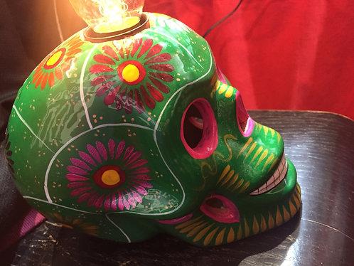 Lampe skull green and flower
