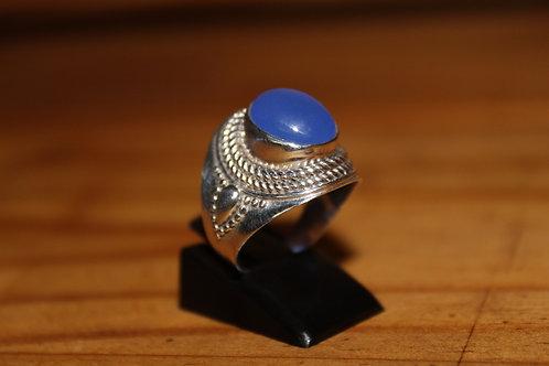 Bague Ronde Calcédoine bleu