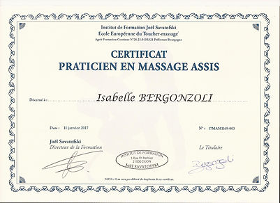 certificat praticien en massage assis