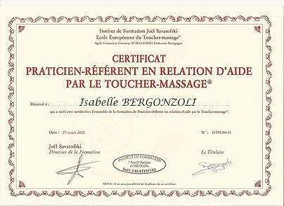 certificat praticien referent en relation d'aide par le toucher-massage