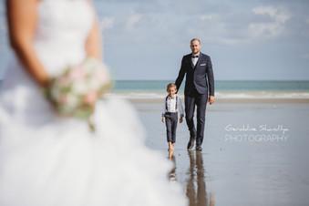 Photos des mariés sur la plage de Dieppe