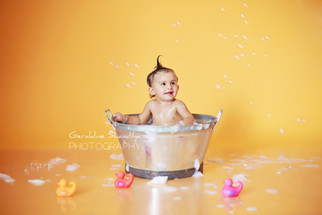 Bubble bath photo shoot for sitter or toddler