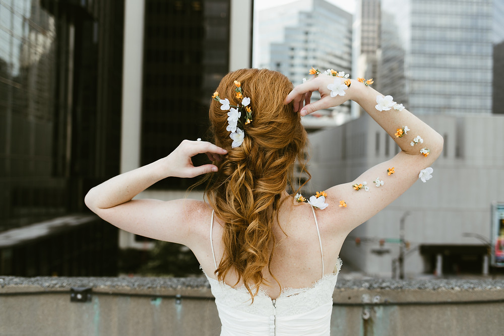 Photo of bride in Uptown Charlotte with Red Hair