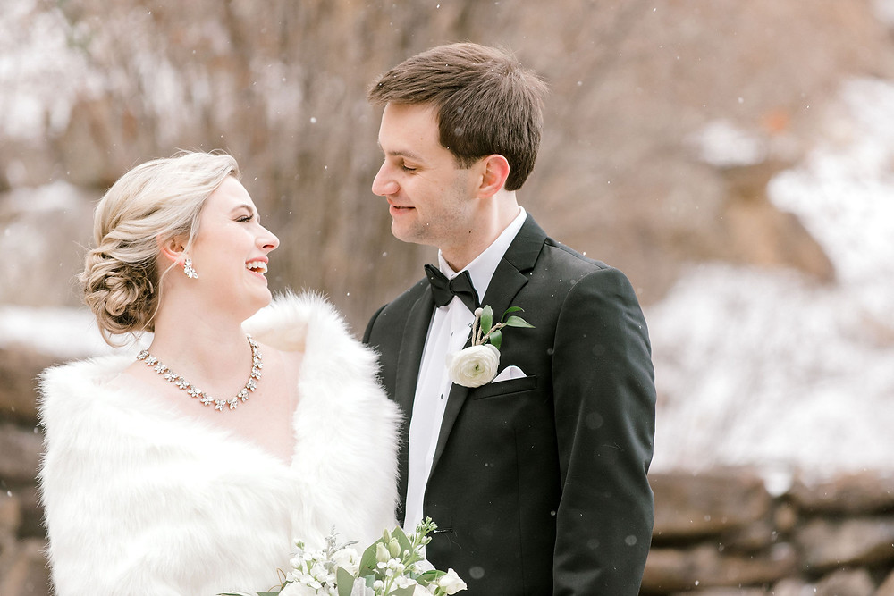 Beautiful snowy mountain wedding in Asheville, NC