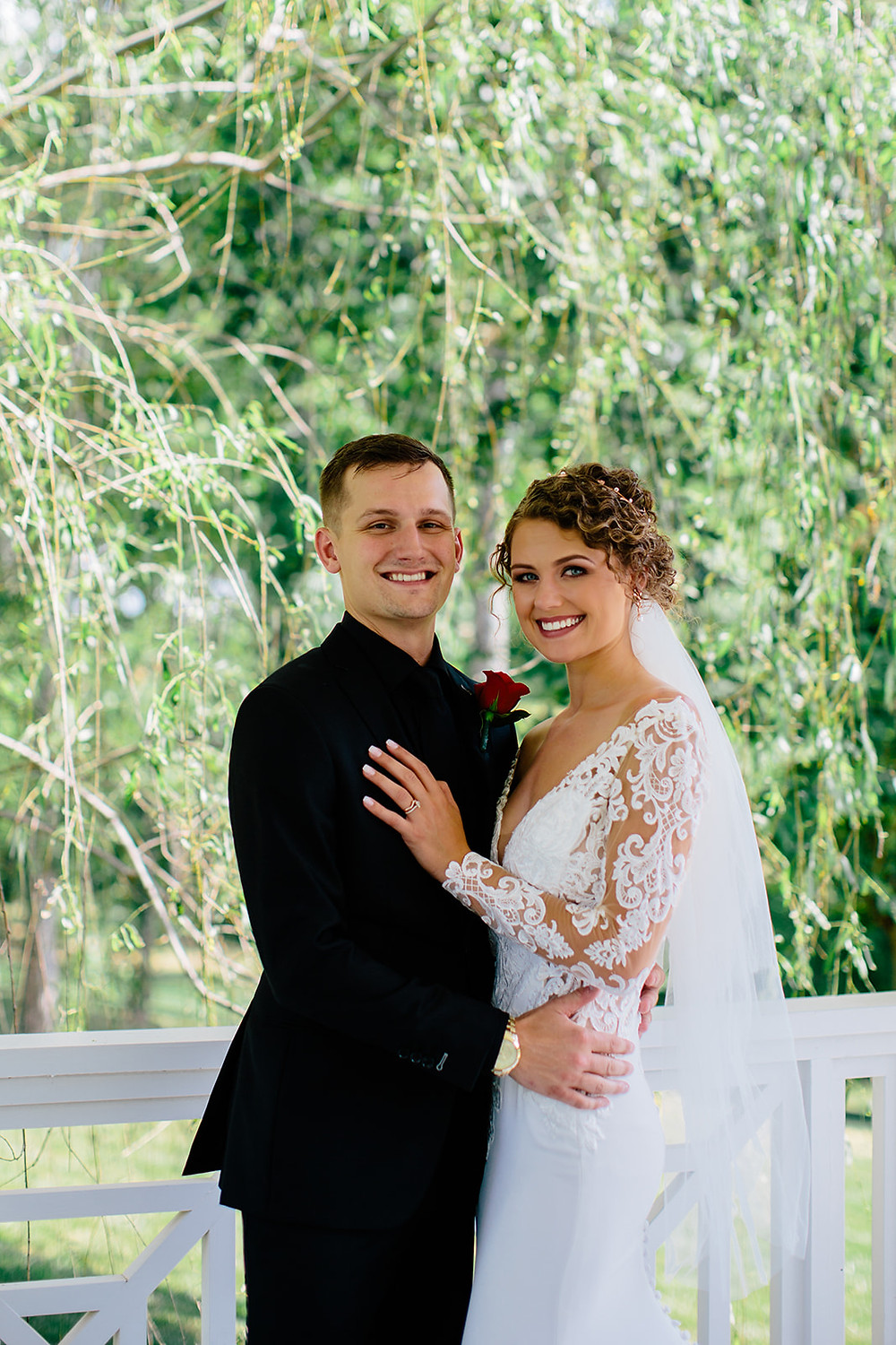 bride and groom in beautiful venue in Mooresville, NC