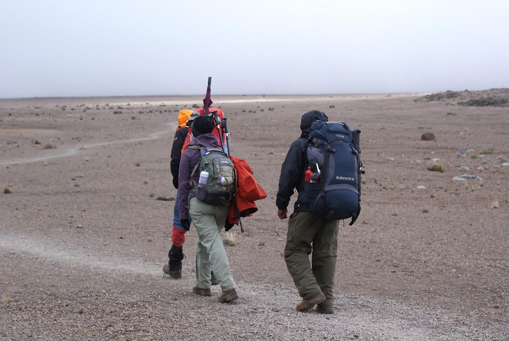 Kilimanjaro climbers crossing the saddle between Mawenzi and Kibo