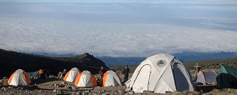 Four season mountain tents set up at Karanganga Valley Camp