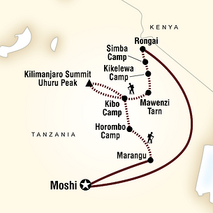 Mount Kilimanjaro Rongai Route Map